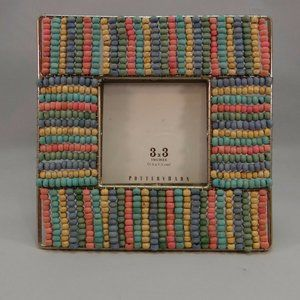New Pottery Barn Beaded Picture Frame